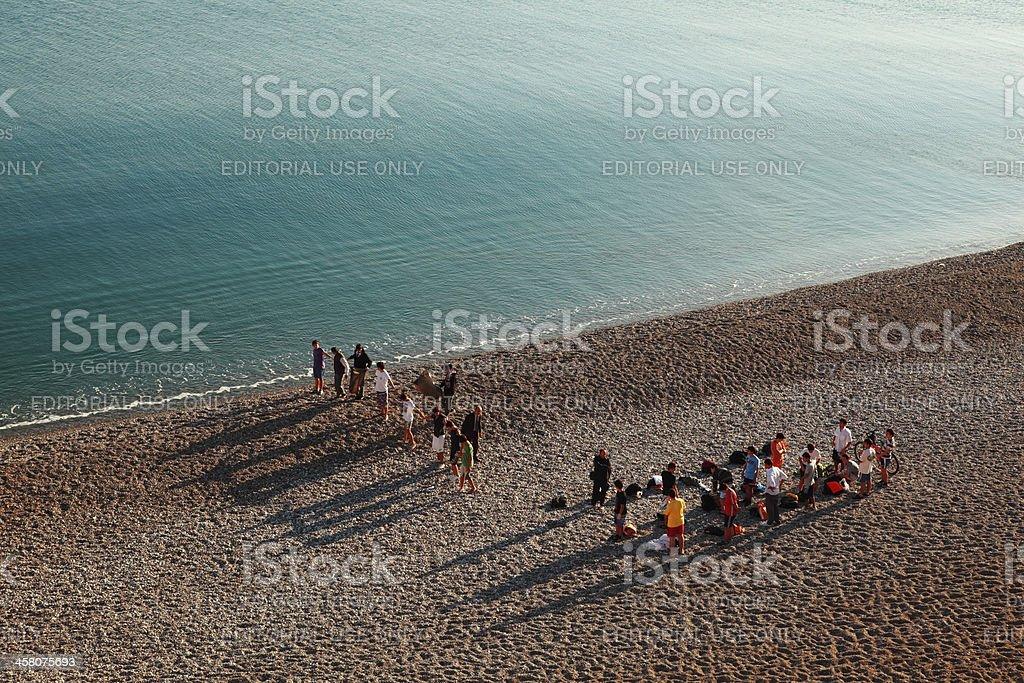 Volunteers line up Beach Cleaning Drive, Antalya stock photo