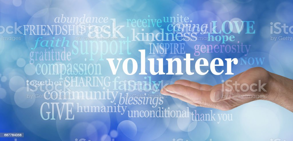 Volunteers Needed Word Cloud stock photo