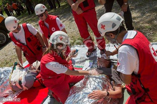 istock Volunteers Red Cross voluntery organization 474837412