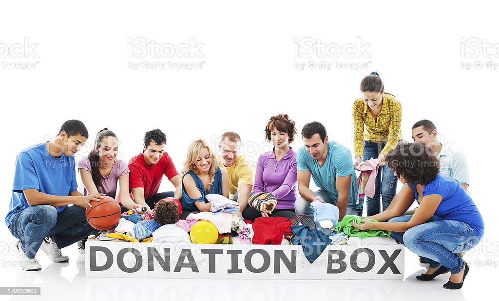 Volunteers with full donation box. royalty-free stock photo