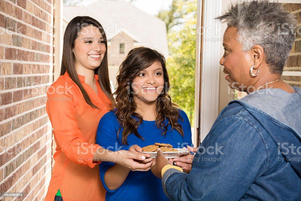 Freiwillige: Junge Erwachsene mit cookies, um senior Frau zu Hause fühlen. – Foto