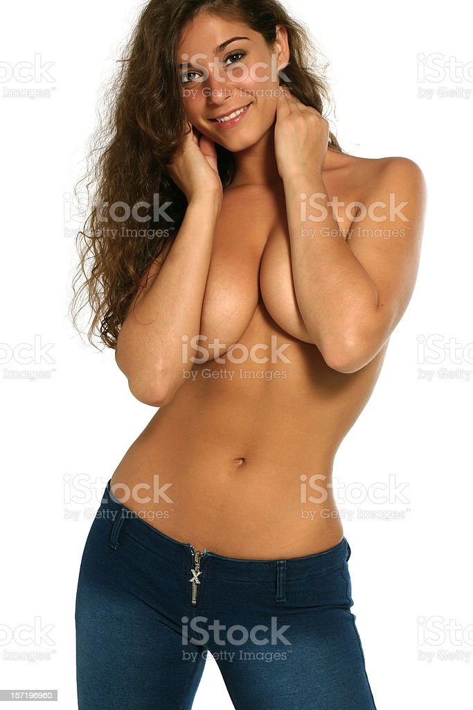 Voluptuous Topless in Jeans royalty-free stock photo