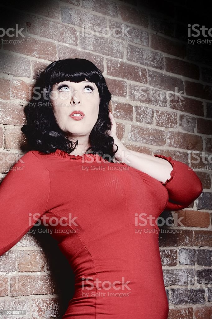 Voluptuous Woman Surprised by Bright Light royalty-free stock photo