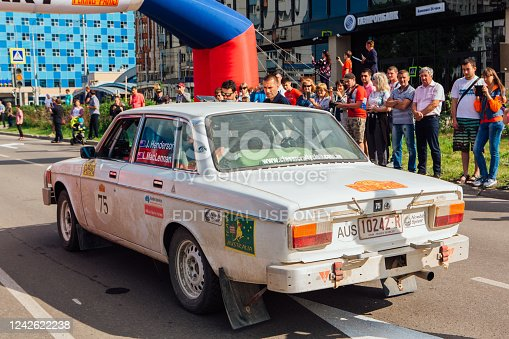 Novokuznetsk, Russia-June, 14 2019: The 7th Peking to Paris Motor Challenge is unique in the motoring world a true endurance motor rally following in the wheel-tracks of the original pioneers of 1907