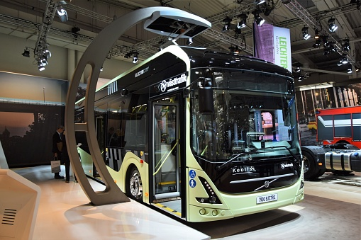 Hannover, Germany - September 21th, 2016: The presentation of zero emission Volvo 7900 Electric bus on the motor show. This charging system, with pantographs on the bus terminus, will be one of the most popular electric charging systems in European cities in future.