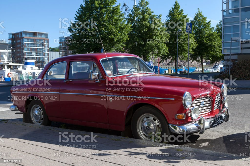 Volvo Amazon Turku, Finland - June 21 2019: The Volvo Amazon was a mid-sized car manufactured and marketed by Volvo Cars from 1956 to 1970. Car Stock Photo
