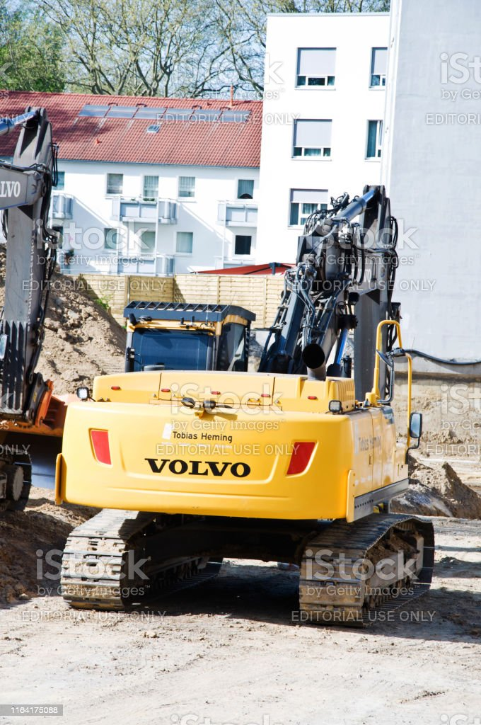 Volvo branded heavy construction equipment at an on-going...