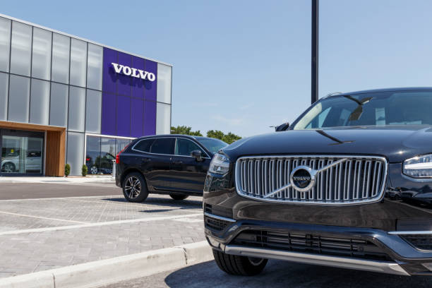 Volvo car and SUV dealership. Volvo is a subsidiary of the Chinese automotive company Geely III stock photo