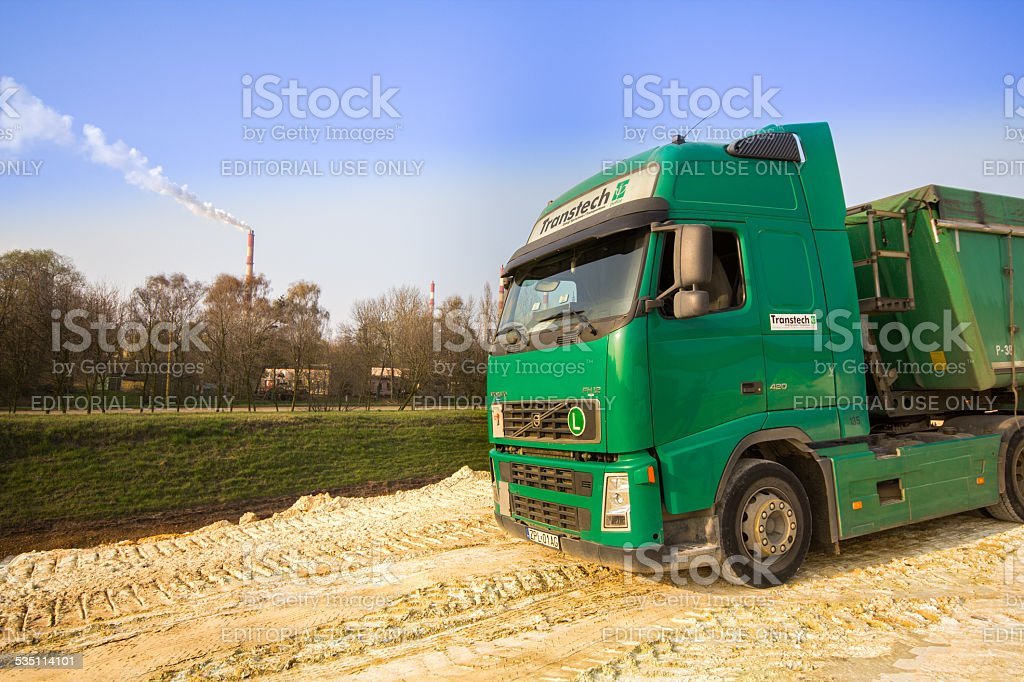 Volvo FH12 Dumper Truck at chemical industry / construction zone stock photo