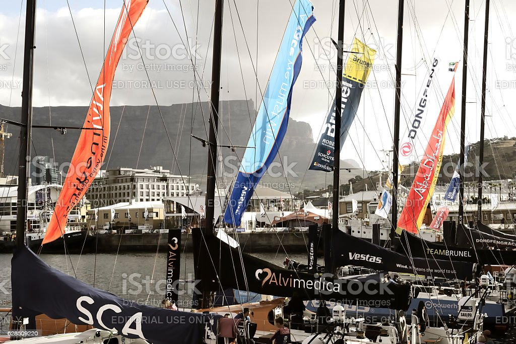 Volvo Ocean Race Sailing Fleet in Cape Town stock photo