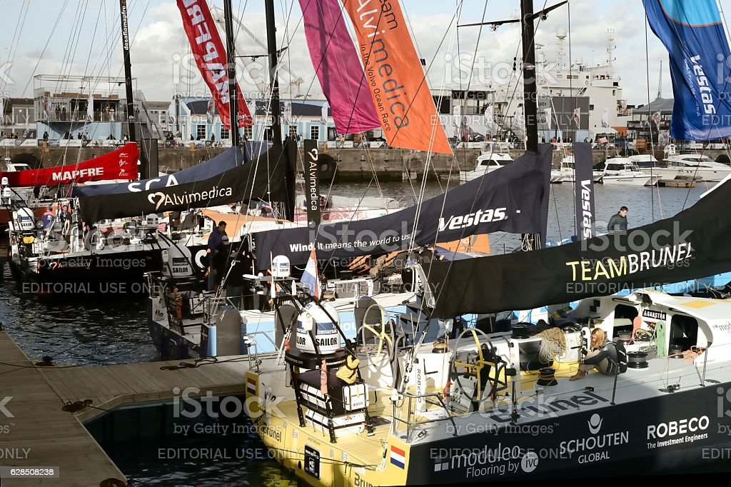 Volvo Ocean Race Sailing Fleet in Cape Town, South Africa stock photo