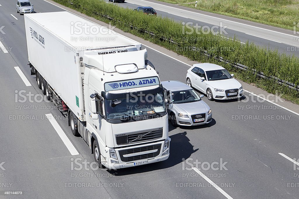 Volvo truck on German highway royalty-free stock photo