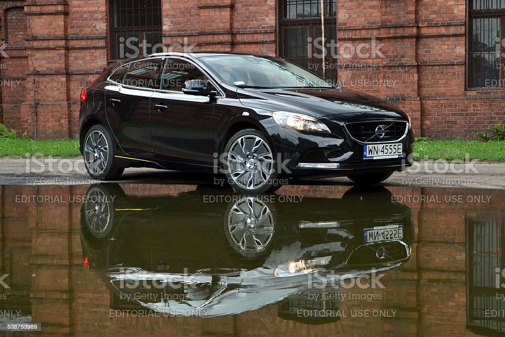 Volvo V40 in the mirror reflection stock photo