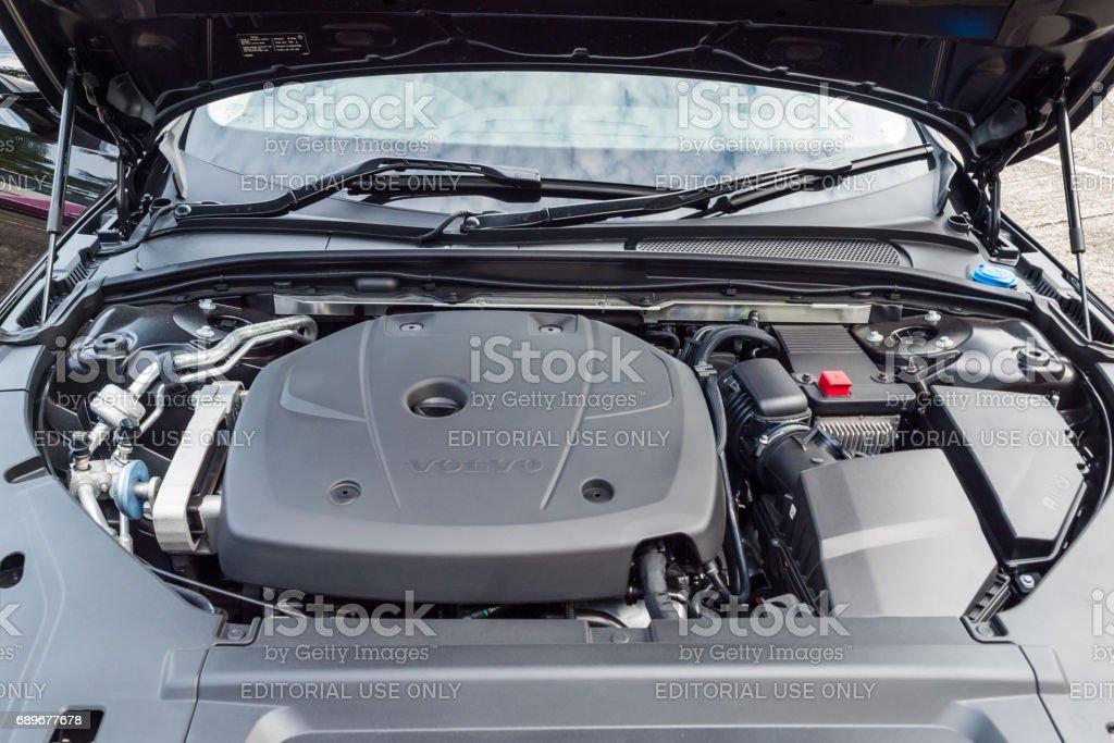 Volvo V90 2017 Engine Hong Kong, China Feb 21, 2017 : Volvo V90 2017 Engine on Feb 21 2017 in Hong Kong. Car Stock Photo