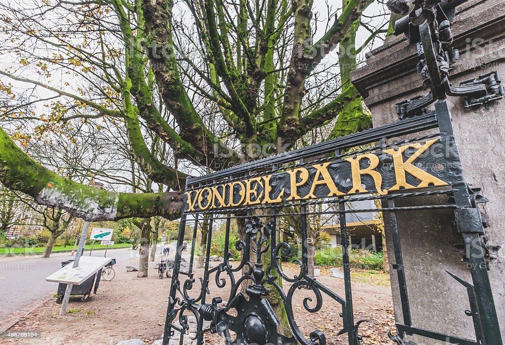 Vondel Park Entrance stock photo