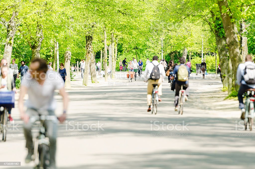Vondelpark Amsterdam and the cyclists stock photo