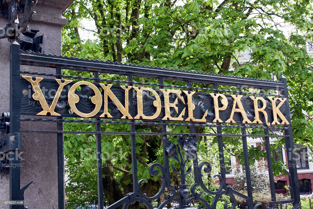 Vondelpark in Amsterdam, letters on the fence stock photo