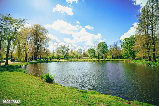 Little pond at Vondelpark landscape on sunny summer day in Amsterdam, Netherlands