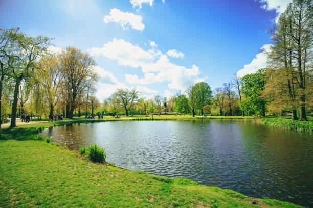 vondelpark in amsterdam - public park stock photos and pictures