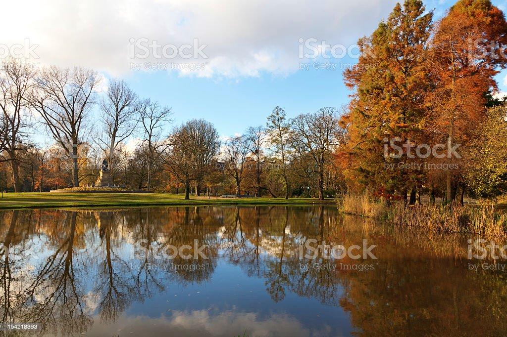 Vondelpark in Autumn colors, Amsterdam, the Netherlands stock photo
