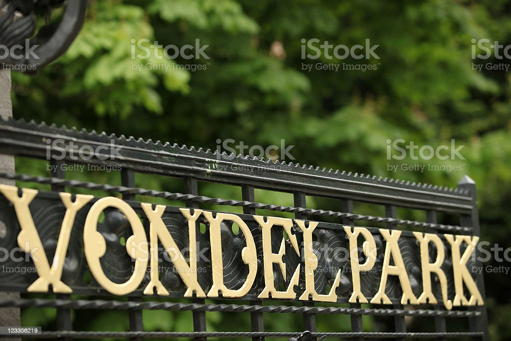 Vondelpark in golden letters on one of the entrance gates stock photo