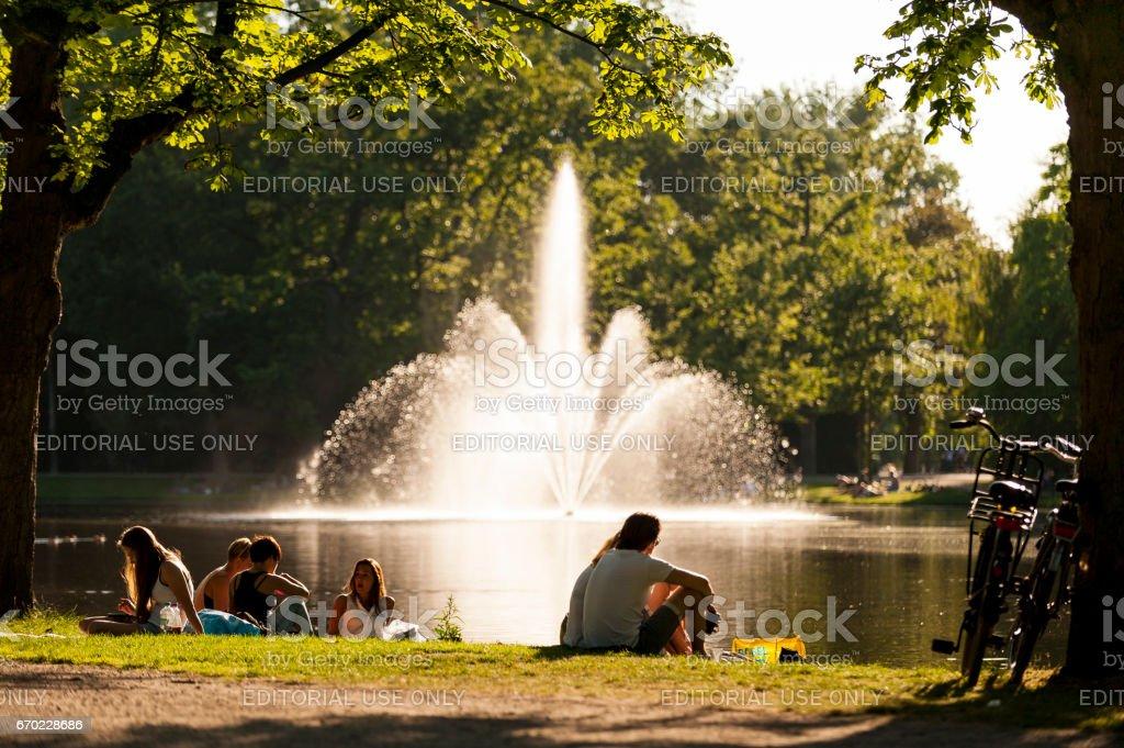 Vondelpark Lake Fountain stock photo