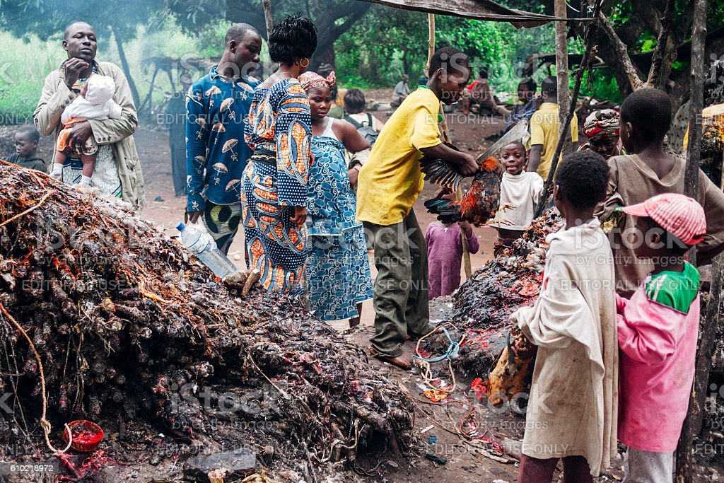 Voodoo ceremonies. Benin, West Africa. stock photo
