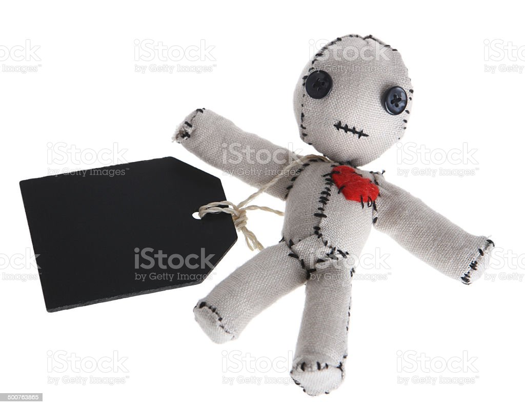 Voodoo Doll with Blank Tag on White Background stock photo