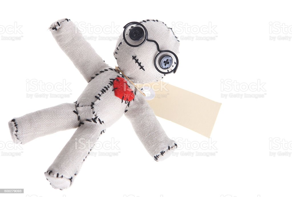 Voodoo Doll with tag and glasses stock photo