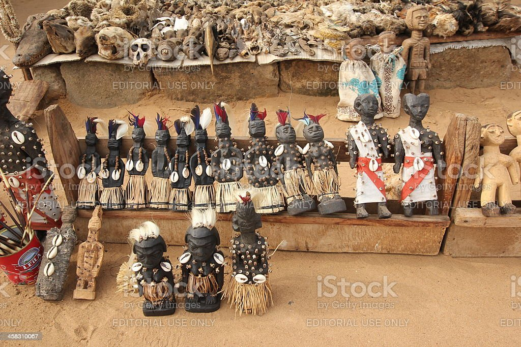 Voodoo Dolls at the Fetish Market in Togo stock photo