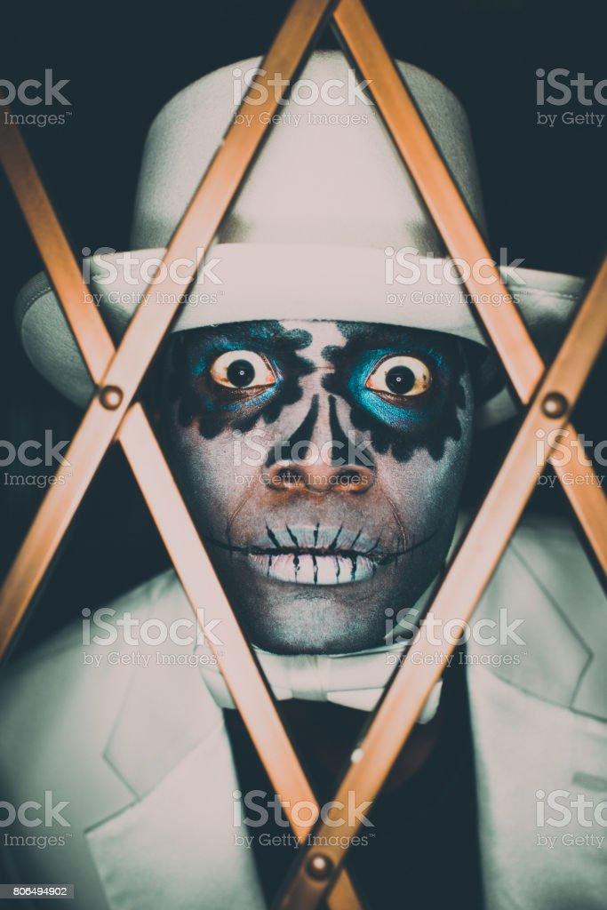 Voodoo Sugar Skull Spooky Man Portrait stock photo