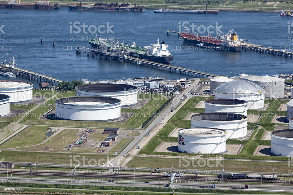 Vopak Oil storage tank aerial stock photo