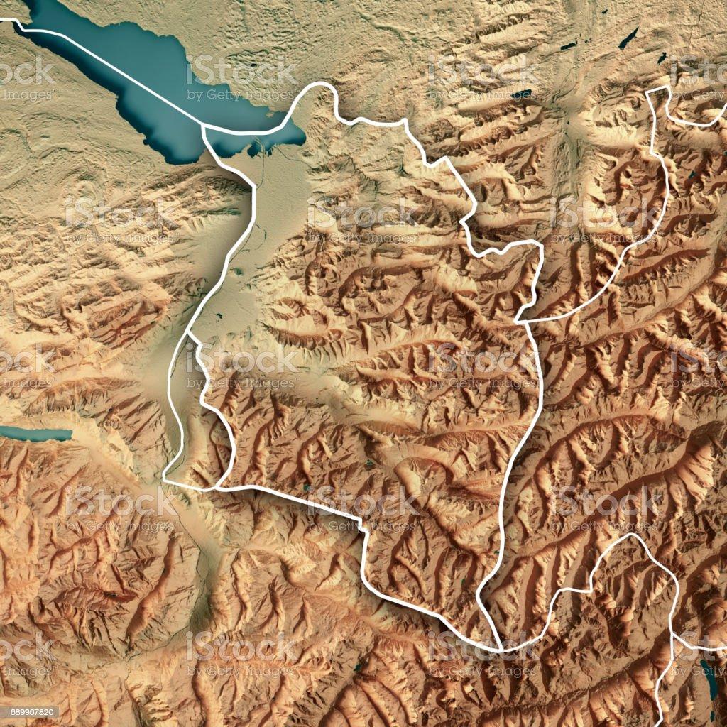 Vorarlberg Bundesland Austria 3D Render Topographic Map Border stock photo