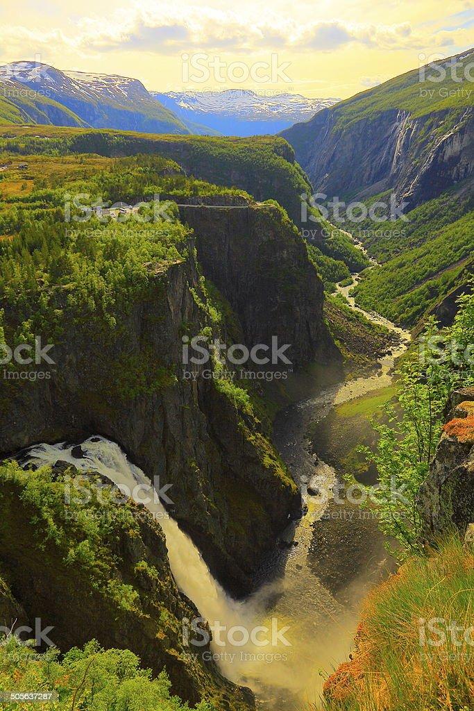 Voringsfossen waterfall canyon valley in Hardangervidda, Norway stock photo