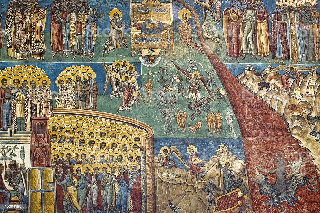 Voronet Monastery exterior painting royalty-free stock photo