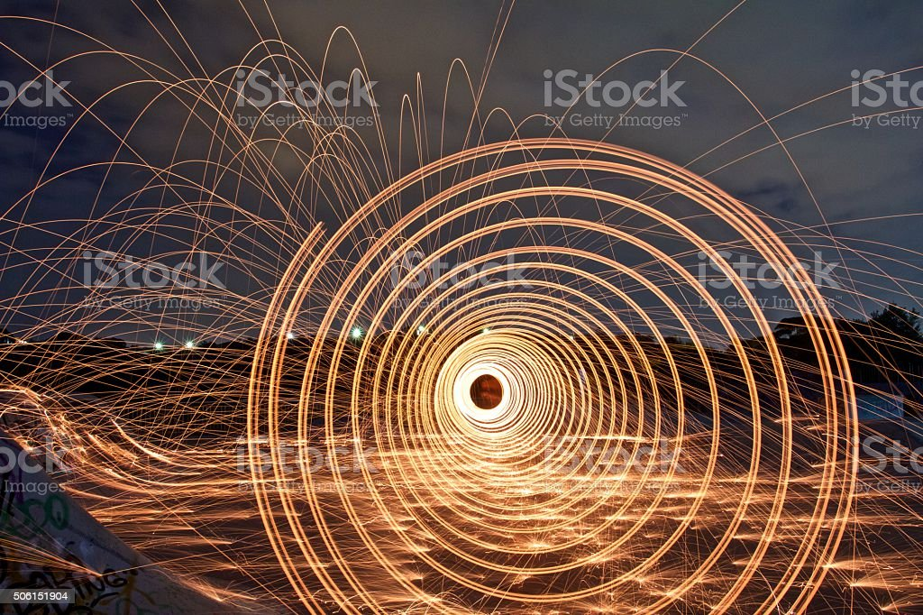 Vortex of Fire - light painting stock photo