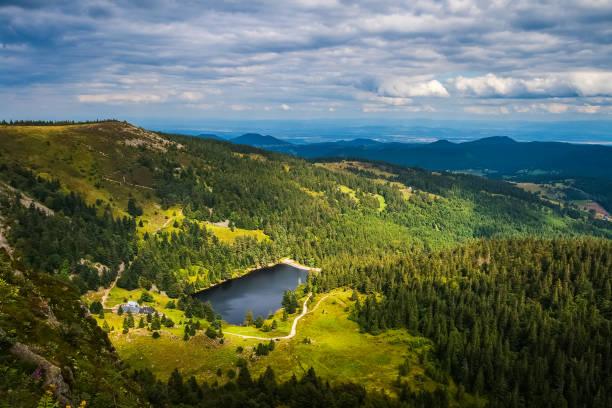 Vogesen Gebirgslandschaft im Sommer, Elsass, Frankreich. Lac du Forlet überblickt vom Rasen von Faing. – Foto
