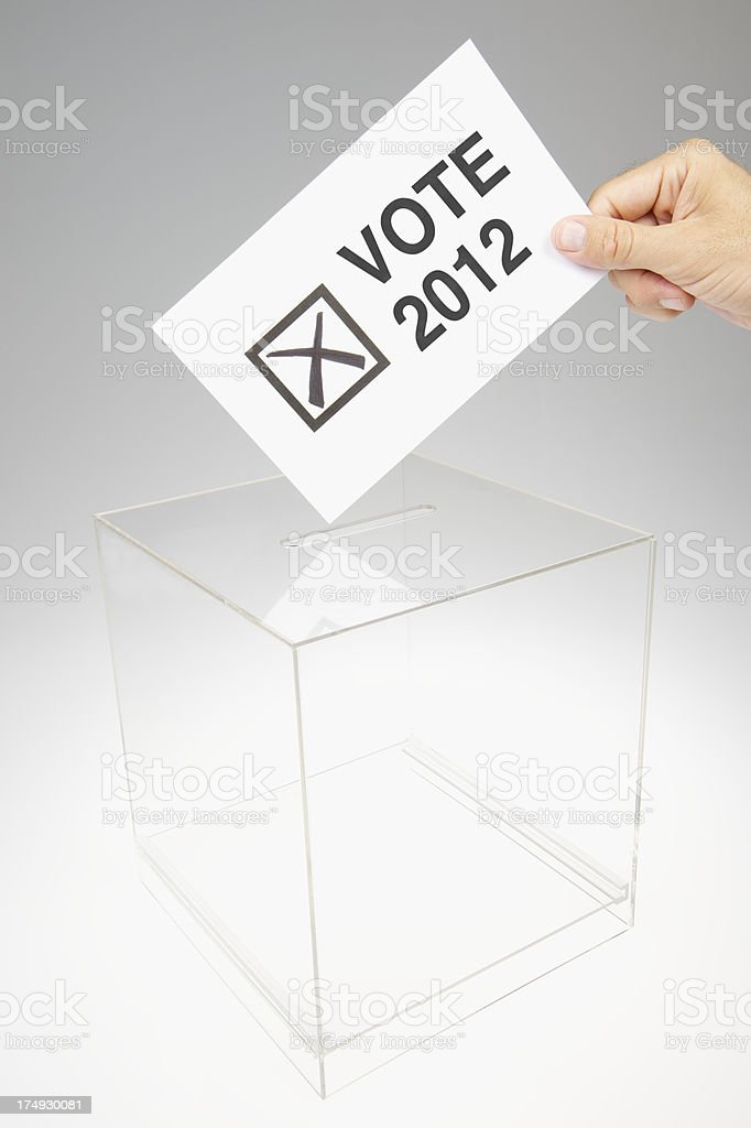 Vote 2012 Message with Election Ballot Box stock photo