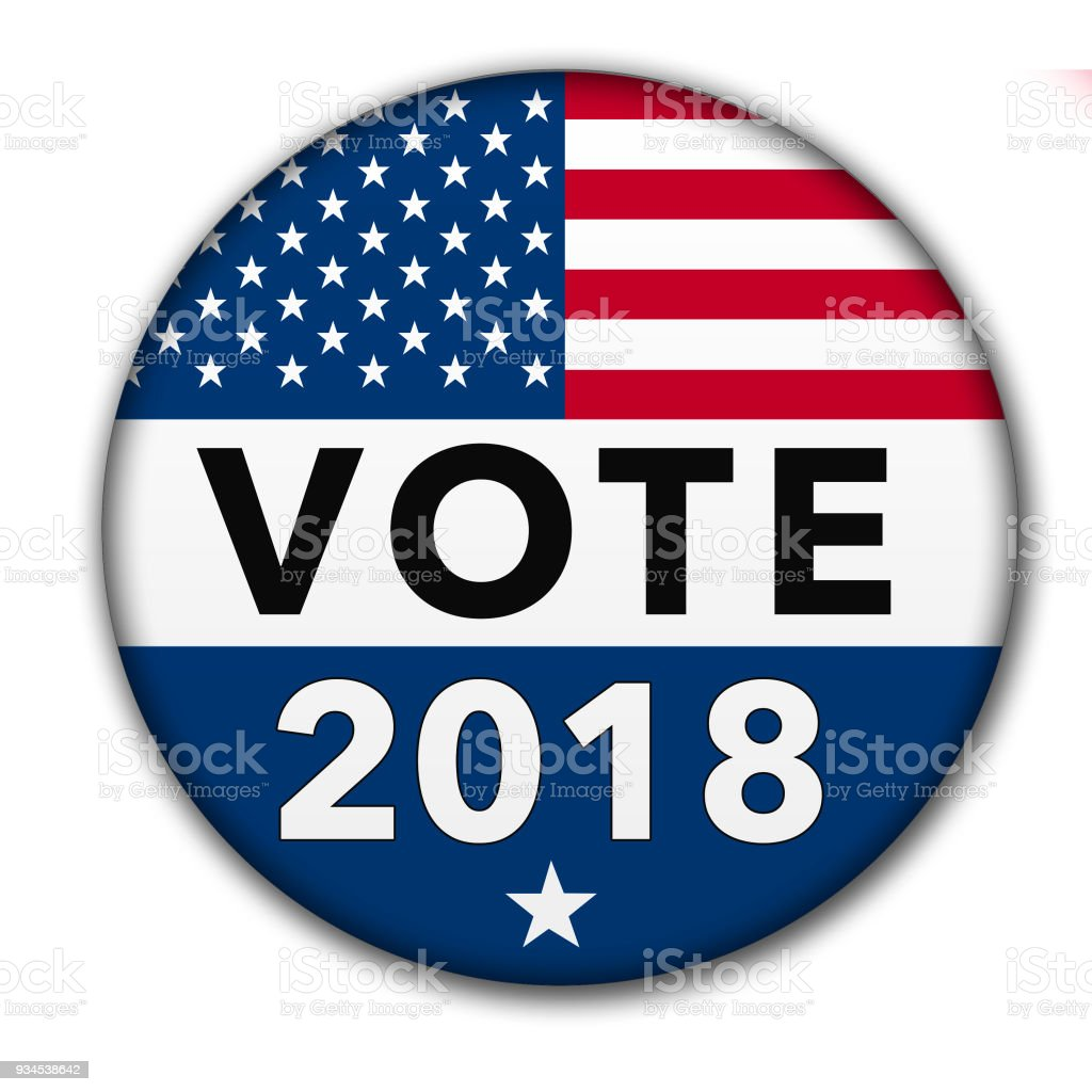 USA Vote 2018 Button with Clipping Path stock photo