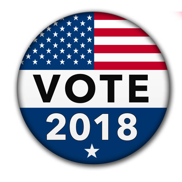 USA Vote 2018 Button with Clipping Path A vote button for the 2018 election season with the USA flag and drop shadow. Image is with a clipping path of the button. 2018 stock pictures, royalty-free photos & images