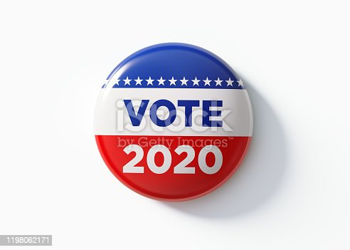 Vote 2020 badge for elections in the United States of America. Isolated on white background. Great use for election and voting concepts. Clipping path is included.