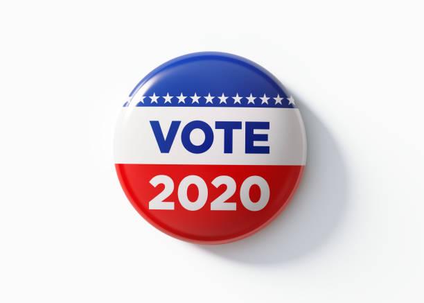 abd'de seçimler için oy 2020 rozeti - vote stok fotoğraflar ve resimler