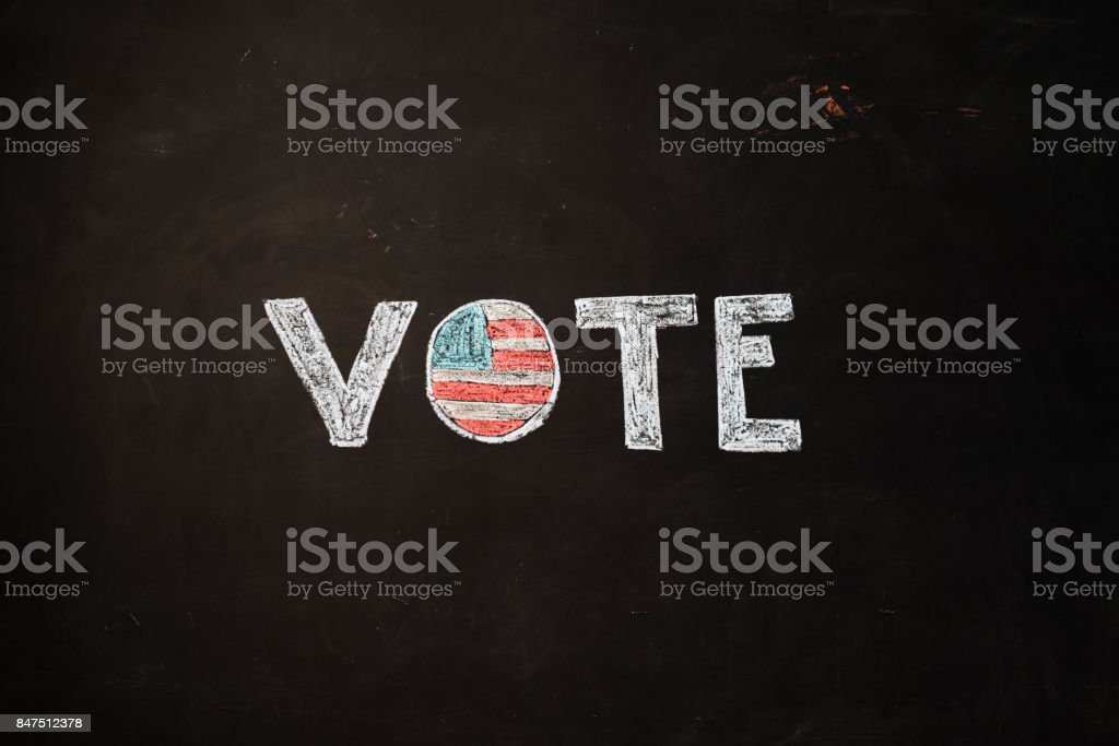 TEXT Vote against black backdrop - Illustration stock photo