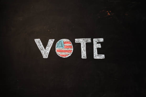 TEXT Vote against black backdrop - Illustration stock photo