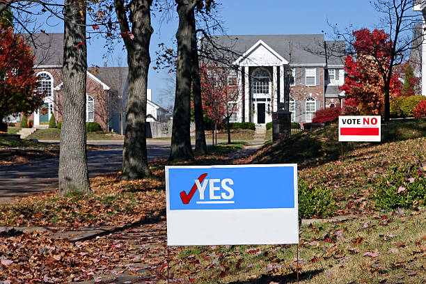 vote! blank signs with yes and no - vote sign stock photos and pictures