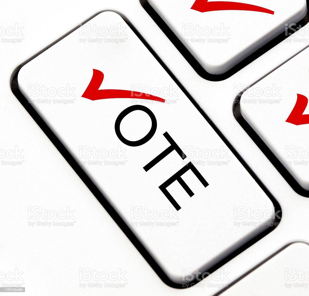 Vote button on keyboard stock photo