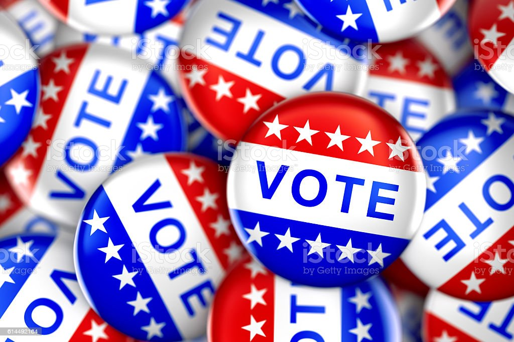 Vote buttons in red, white, and blue stock photo