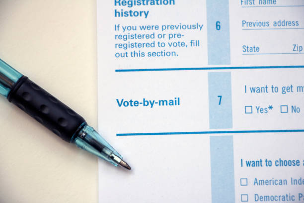 vote by mail option on form with pen - ballot stock pictures, royalty-free photos & images