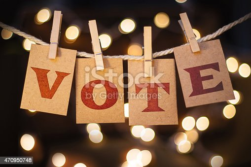 istock Vote Concept Clipped Cards and Lights 470950748