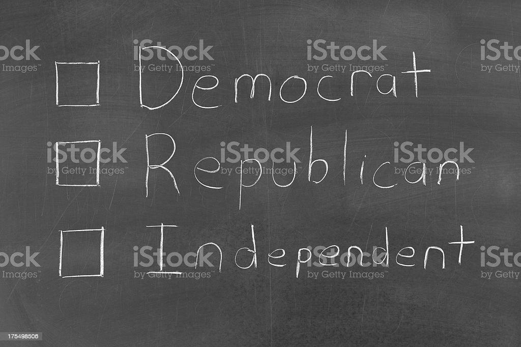Vote Democrat Republican or Independent stock photo